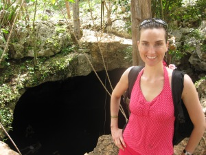 We repelled into that cenote to swim amid the bats